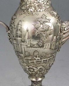 S Kirk repousse landscape tea set and kettle in original box