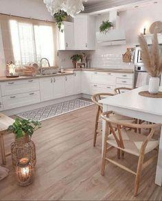 41 Beautiful Kitchen Ideas & Designs In Your Home Decoration - Lily Fashion Style Kitchen Room Design, Home Decor Kitchen, Kitchen Interior, Home Kitchens, Kitchen Ideas, Warm Kitchen, French Kitchen Decor, Kitchen Retro, Kitchen Tile