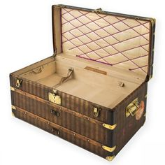 Louis Vuitton Rayee Striped Courier Trunk with Stickers - Louis Vuitton - Brands - Vintage Luggage Company