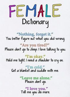Funny Pictures, Jokes and Gifs / Animations: Female Dictionary Every Thing is Opposite Funny Gi...