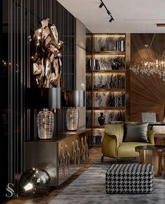 Кабинеты, выполненные в нашей уникальной стилистике — это роскошное и функциональное пространство, которое позволит сосредоточиться на своих мыслях и вдохновит вас на покорение новых вершин! Эти домашние офисы имеют одну общую черту: изысканное пространство изолированно от отвлекающих факторов и полностью отражает характер своего владельца. Читайте статью в нашем блоге. #studia54 #interiordesign #designideas #inspiration #art #decor #office #study Design Living Room, Living Room Interior, Office Interior Design, Interior Exterior, Luxury Home Decor, Luxury Interior, Luxury Living, Interiores Design, Home Office