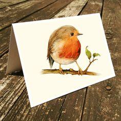 Set of 4 handmade cards - Little Robin Bird Cards, Stationary, Birds watercolor cards