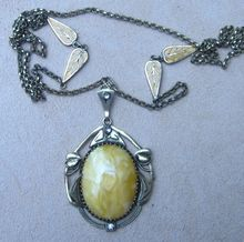 Art Nouveau Enamel Vintage Necklace and Pendant