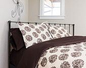"100% ORGANIC Cotton Sateen Duvet Cover in  Harmony Art ""Evelyn"" fabric - Queen Size"