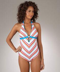 Nautica Shore Break Women's Halter One Piece Bathing Suit