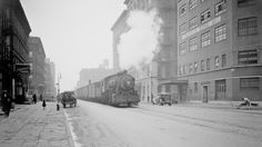 Trains Used To Drive Down The  Street In New York City
