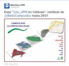 """Expo """"@la_UPM en Vallecas"""", vestíbulo de @BiblioCampusSur hasta 29/01   anuncio Twitter   #theshowmustgoon"""