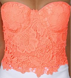 Neon Coral Crochet Corset. I would look Ahhhmazing in this