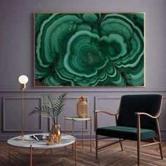 Malachite framed art
