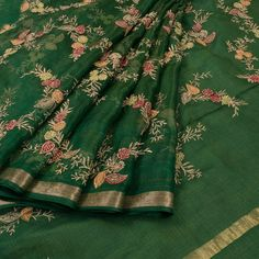 Buy online Embroidered Green Kota Silk Saree With Floral Motifs & Zari Border 10015084