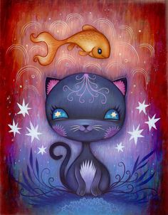 Neko and Kingyo Limited Edition Print by Jeremiah Ketner