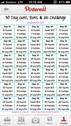 30 day guns, buns, & ab challenge