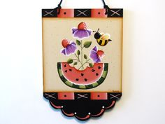 Flowers Watermelon Bee Scalloped Banner by ToleTreasures on Etsy