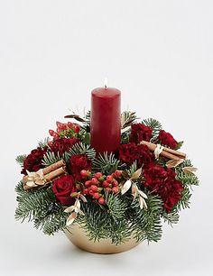 Buy the Festive Red Candle Arrangement from Marks and Spencer's range. Christmas Flower Arrangements, Candle Arrangements, Christmas Table Centerpieces, Christmas Door Decorations, Xmas Wreaths, Christmas Flowers, Christmas Candles, Flower Centerpieces, Christmas Floral Designs