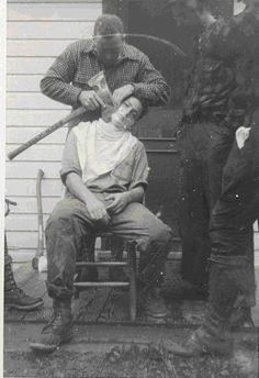 Lumberjacks shaving with an axe. It doesn't get manlier than this.