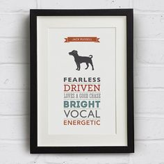 Jack Russell Dog Breed  Traits Print - Jack Russell Gift on Etsy, $24.03 AUD