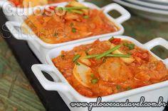 #BomDia! A dica de #almoço é super saborosa, leve e fácil! Estamos a falar do Estrogonofe de Bacalhau Light.  #Receita aqui: http://www.gulosoesaudavel.com.br/2015/03/27/estrogonofe-bacalhau-light/