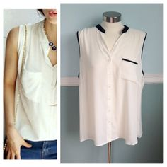 NWOT white tank button down Perfect shirt! White button down top sleeveless no collar. Black trim around neck & pocket. No size tag but size 18. First photo on left is not actual item* just showing for style! Spense Tops