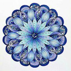 "Design from Valentina Harper's ""Creative Coloring Mandalas"". Colored with the Dual Brush Markers, and accented with Gel Pens. Mandala Design, Mandala Art, Mandala Drawing, Mandala Pattern, Zentangle Patterns, Zentangles, Adult Coloring, Coloring Books, Coloring Pages"