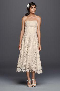 Strapless Floral Lace Tea Length Wedding Dress - Ivory, 10