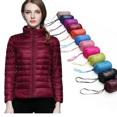 983a01f35a8bc Winter Women Stand Collar 90% White Duck Down Jacket Female Ultra Light  Down Jackets Slim