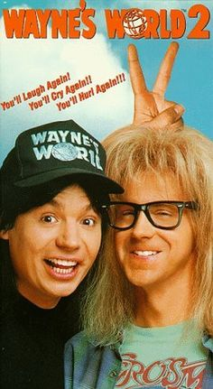 Wayne's World 2 , starring Mike Myers, Dana Carvey, Christopher Walken, Tia Carrere. The inseparable duo try to organize a rock concert while Wayne must fend off a record producer who has an eye for his girlfriend. Movie Sequels, 2 Movie, Love Movie, Tia Carrere, Movies Showing, Movies And Tv Shows, Good Comedy Movies, Comedy Music, Funny Movies