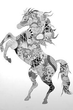 Zentangle Horse // by Nikoline Sander