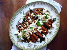 The Spoon and Whisk: Roasted Carrots + Crispy Chickpeas with Goats Cheese, Spinach, Pine Nuts and Herby Dressing