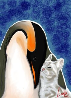 Penguin and Cat by yuemoto on DeviantArt