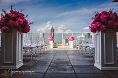 Floral pops of color against the blue sky Atlanta Wedding Venues, Wedding Locations, Wedding 2017, Wedding Ceremony, Wedding Planner, Wedding Looks, Wedding Stuff, Rooftop Wedding, Sister Wedding
