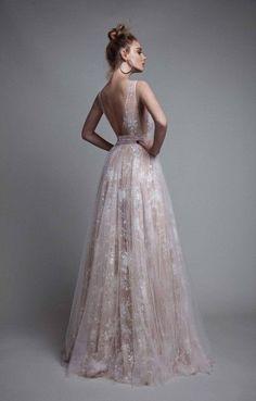 Sexy A-Line V-Neck Sleeveless Open Back Long Prom Dresses, Formal Dresses, Evening Dresses Blush Prom Dress, A Line Prom Dresses, Tulle Prom Dress, Long Wedding Dresses, Sexy Dresses, Lace Dress, Formal Dresses, Dress Wedding, Party Dress
