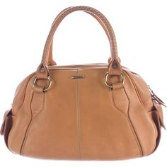 Pre-owned C?line Leather Handle Bag ($195) ❤ liked on Polyvore featuring bags, handbags, brown, brown leather handbags, genuine leather handbags, brown handbags, beige leather handbag and tan leather handbags