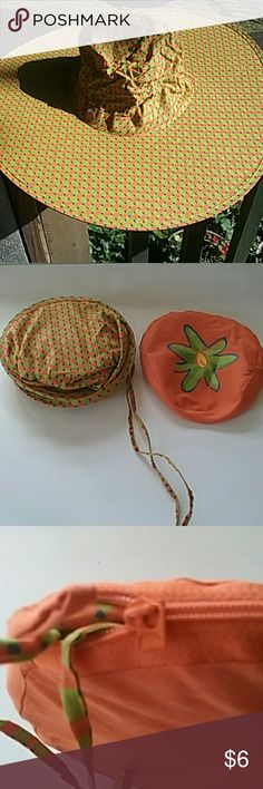 Pop open hat FREE WITH PURCHASE! Orange green and blue basketweave patterned hat. Zipper pull is missing tip. Zipper works fine. Accessories Hats