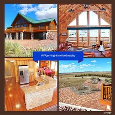 Beautiful 3600 sf log #WyomingHomeWednesday home on 40 acres of paradise located on the 10000 acre private Pine Ridge Ranch. From the deck you can view Laramie Peak. The kitchen has granite countertops hickory cabinets & stainless steel appliances. 40x60 shop & 2 car oversized garage. #cbtpe #Wyoming #ColdwellBanker #LogHome #LaramiePeak