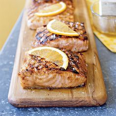 Maple Grilled Salmon courtesy of Cooking Light. This sounds super yummy Grilled Salmon Recipes, Fish Recipes, Seafood Recipes, Great Recipes, Cooking Recipes, Favorite Recipes, Healthy Recipes, Grilled Seafood, Grilled Fish