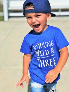 Young Wild & Three Birthday shirt Front and Back design Name on back three year old toddler birthday birthday shirt boy - Birthday Shirts - Ideas of Birthday Shirts - 3 Year Old Birthday Party Boy, 3rd Birthday Party For Boy, Toddler Boy Birthday, Birthday Themes For Boys, Birthday Boy Shirts, Birthday Ideas, Birthday Design, Boy Birthday Pictures, Birthday Cards