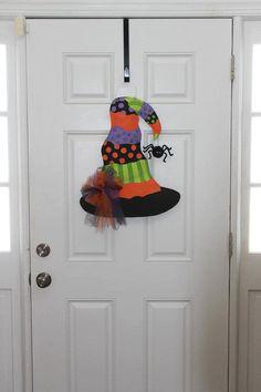 Witches Hat Burlap Door Hanger