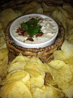The Potato Chip Dip.it's addicting!  1 pack dry Ranch Dressing Mix, 1 (16-ounce) carton sour cream         2 cups sharp cheddar, shredded ¼ cup bacon bits Mix all together and refrigerate at least 2 hours, or overnight is best.  Serve with your favorite chips.