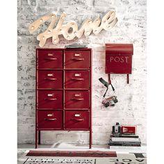 Mobiletto rosso stile industriale in metallo L 52 cm
