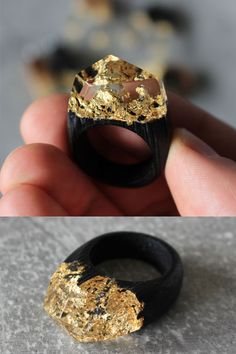 Made from years old bog oak wood, crystal clear resin and 24 karat gold leaf. made accessories resin Wood Resin, Resin Art, Resin Ring, Resin Jewelry, Diy Schmuck, Schmuck Design, 24k Gold Ring, Clear Resin, Clear Crystal