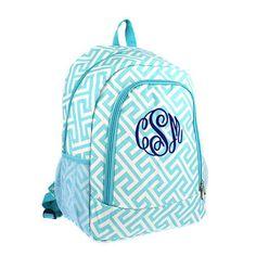 Monogrammed Aqua Greek Key Backpack by tinytulip on Etsy https://www.etsy.com/listing/242635962/monogrammed-aqua-greek-key-backpack