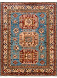 "Turquoise/Blue Oriental Kazak Rug 8' 2"" x 10' 7"" (ft) - No. 12193  http://alrug.com/turquoise-blue-oriental-kazak-rug-8-2-x-10-7-ft-no-12193.html"
