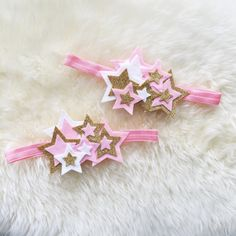 Felt Star Cluster Headband // twinkle twinkle little star // felt, metallic and glitter headband crown