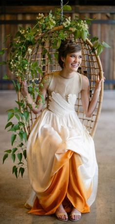 orange dip dyed unique wedding gown