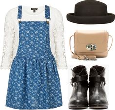 Untitled #544 by i-heart-one-direction showing what to wear with a floral dress  Floral dress, $27 / Topshop top / Rag & Bone leather boots / Lanvin shoulder bag / Topshop black hat