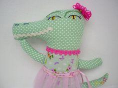Crocodile Ballerina Plush Doll Pink and Green Soft Toy