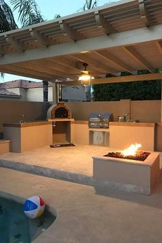 Modern Outdoor Kitchen, Outdoor Kitchen Plans, Backyard Kitchen, Outdoor Living, Rustic Outdoor Kitchens, Pizza Oven Outdoor, Outdoor Barbeque, Outdoor Grill Area, Outdoor Cooking