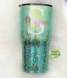 Mint and Green Glittered Tumbler with Name and Initial by Majestic Buckeye Diy Tumblers, Custom Tumblers, Personalized Tumblers, Personalized Items, Glitter Cups, Green Glitter, Glitter Tumblr, Glitter Projects, Glitter Crafts