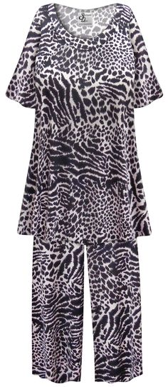 0e4569394a2c8 SOLD OUT! Customizable Plus Size Black   Gray Animal Print 2 Piece Pajama  Pant Set 0x 1x 2x 3x 4x 5x 6x 7x 8x 9x