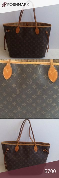 Authentic Louis Vuitton Neverfull MM Monogram Bag. The top leather trim was replaced. Some ink stains are inside the bag. The leather and straps showed signs of used. The canvas is in a good condition. The date code FL 4049 and the bag was made in France. The size of the bag is medium 11, 6 and 12 (bottom) and 16 (top) Louis Vuitton Bags Shoulder Bags